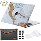 Miger MacBook Pro 13¡± Case 2017 & 2016,Hard Shell Case Cover for Newest Pro 13 inch with Touch Bar Retina Display Released A1706 / A1708,with Felt Mac Sleeve Bag, Silicone Keyboard Cover, 2 x Touch Bar Protector and 2 set Anti Dust Plug(World Map)