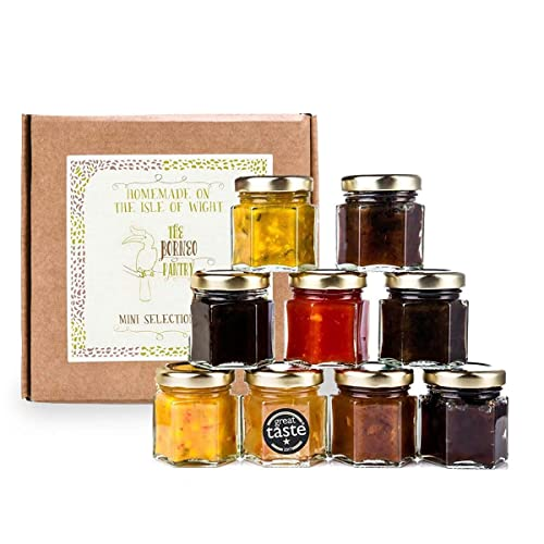The Borneo Pantry Mini Chutney Set Selection Box 9 Flavours in 50g Glass Jars