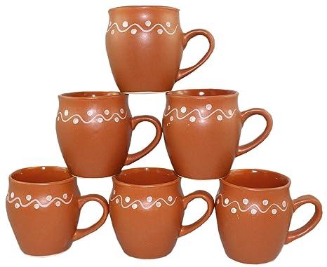 Black Odishabazaar Ceramic Kulhar Cups Traditional Indian Chai Tea Cup Set of 6