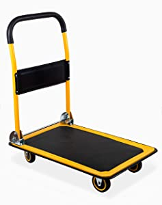 "MaxWorks 80877 35.85"" x 24"" x 34.25"" Foldable Platform Truck Push Dolly (660 lb. Weight Capacity with Swivel Wheels)"