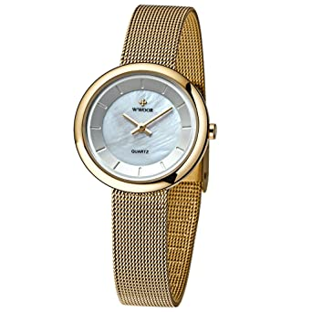 WWOOR Womens Mesh Band Steel Bracelet Ladies Elite Sports Wrist Watch Gold