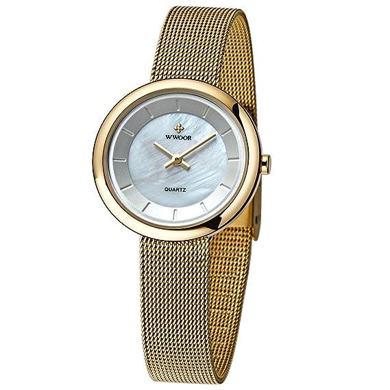 6567c01a6336 WWOOR Mujeres De Malla De Acero Banda De pulsera De Las Damas Elite  Deportes Reloj De Pulsera De Color Oro  Amazon.es  Relojes