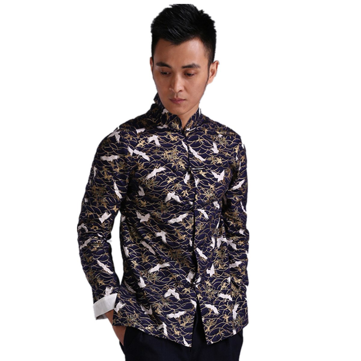 WEISAN Men Chinese Retro Crane Pattern Stand Collar Cotton Kung Fu Costume Jacket by WEISAN (Image #1)