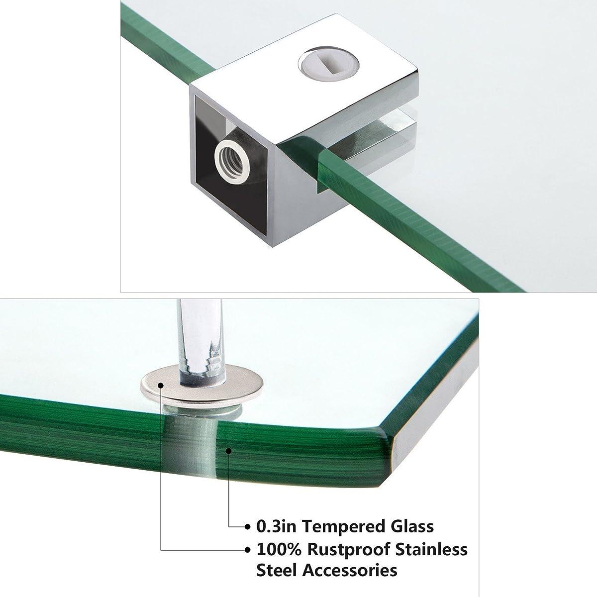 Bathroom Tempered Glass Corner Shelf, Vdomus Stainless Steel Shower Shelf with Rail, Polished Chrome