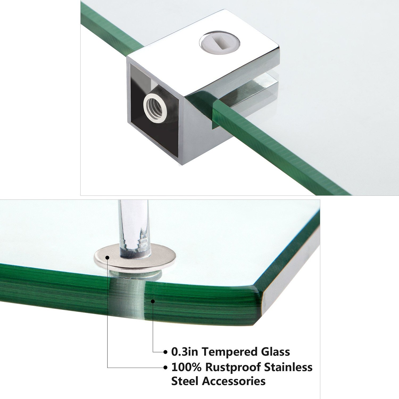 Vdomus Bathroom Tempered Glass Corner Shelf, Stainless