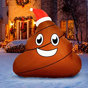 Holidayana 4 ft Inflatable Christmas Poop Outdoor Decoration, Christmas Inflatables Decorations with LED Lights, Fan, and Stakes