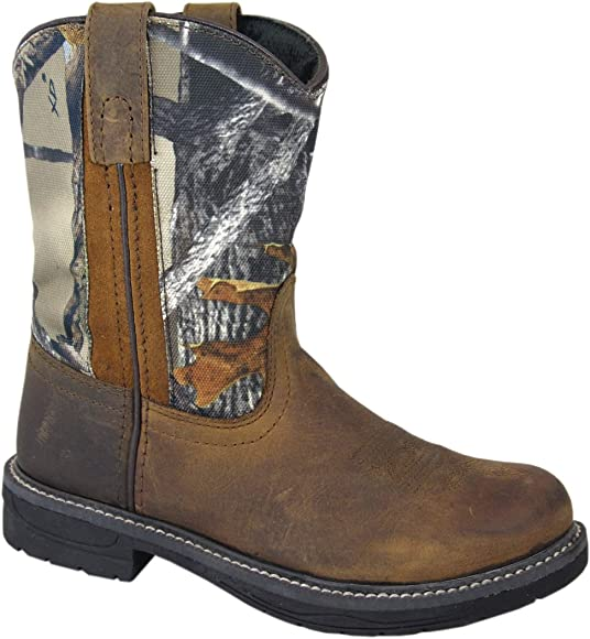 Smoky Childrens Leroy Embroidered Vintage Western Cowboy Boots Chocolate