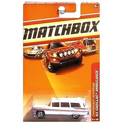 Matchbox 2010 Emergency Response 1963 Cadillac Ambulance Mercy Hospital White: Toys & Games