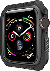 Compatible Apple Watch Case 44mm, Series 4 Series 5 Shock-Proof and Shatter-Resistant Protector Bumper iwatch Case(Black)