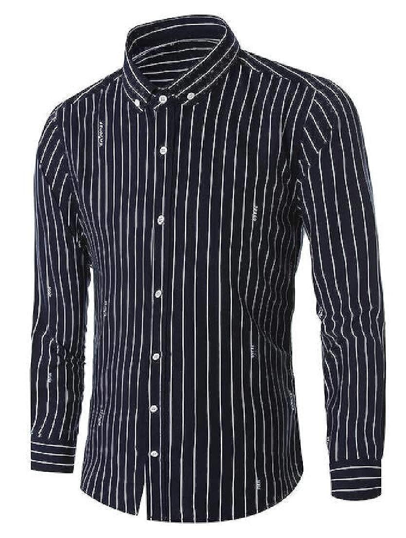 Zantt Men Striped Leisure Button Up Regular Fit Long Sleeve Letters Print Work Shirt