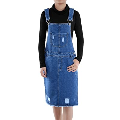Anna-Kaci Junior Womens Distressed Denim Adjustable Strap Overall Dress