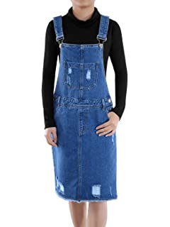 cc1494104c6 Yeokou Women s Midi Length Long Denim Jeans Jumpers Overall Pinafore ...