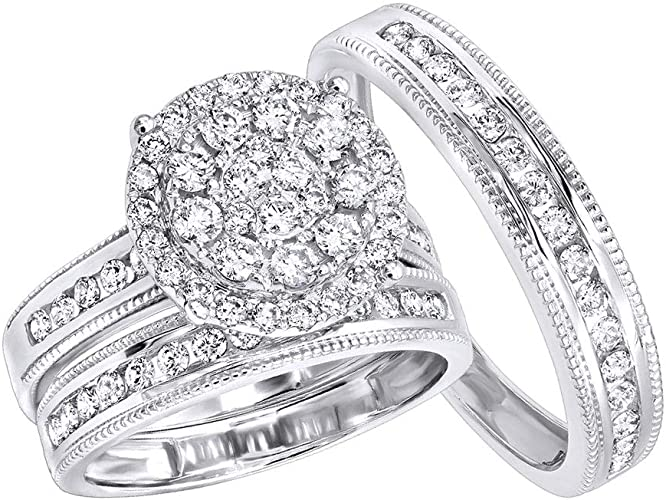 14k Solid White Gold Trio Stars Solitaire Engagement Ring Bridal Wedding Band
