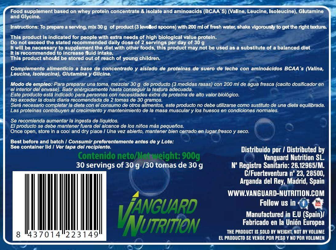 VnSport - Proteínas Whey 100% Suplemento Deportivo   Proteína Láctea Isolate con Bcaas Glutamina, Vitamina B6 y Glicina, 900gr, Sabor Vainilla