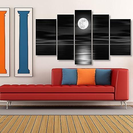 Lienzo moderno para pared (decoración, para dormitorio, arte, enmarcado, listo para colgar, para sala de estar, Hotel, oficina, como regalo), diseño de luna ...