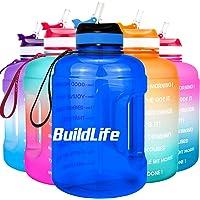 BuildLife motiverende waterfles van 2,2 l met brede opening met rietje en tijdmarkering voor dagelijks drinken, BPA-vrij…
