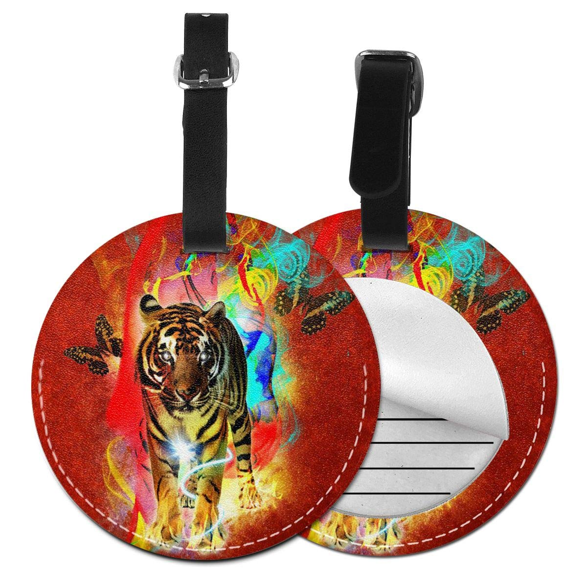 Free-2 Colorful Tiger Luggage Tag 3D Print Leather Travel Bag ID Card