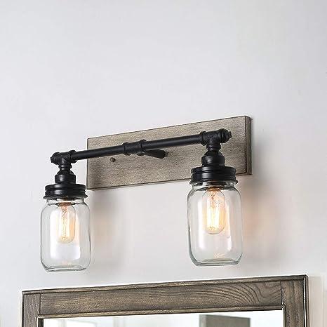 Laluz Farmhouse Bathroom Vanity Lights Faux Wood 2 Light Mason Jar Wall Sconce Black Finish Bathroom Light Fixture