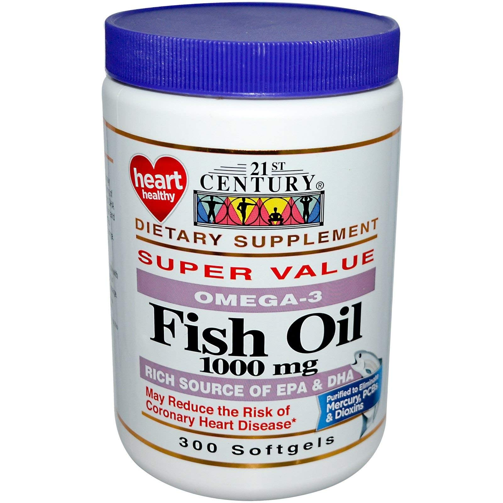 21st Century Omega-3 Fish Oil 1000 mg Softgels 300 ea (Pack of 12)