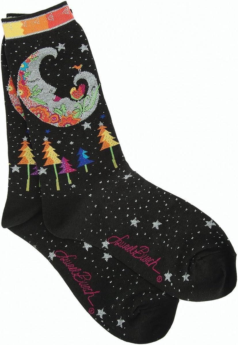 Laurel Burch Women's Single Pack Lively Nature Crew Socks, Mystic Moon,9-11 (Parent)