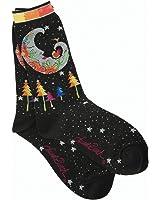 Laurel Burch Women's Single Pack Lively Nature Crew Socks, Mystic Moon,9-11