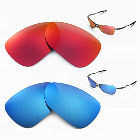 8fb68a61d99 Amazon.com  Walleva New Polarized Fire Red+Ice Blue Replacement Lenses For Oakley  Crosshair 1.0 (2005-2006 version) Sunglasses  Sports   Outdoors