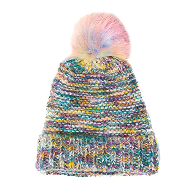 2ac5adf6785 Image Unavailable. Image not available for. Color  Accessoryo Women s Multi  Coloured Knit Beanie with Rainbow Pom Pom