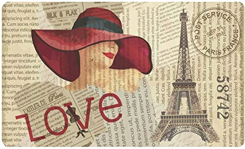 INTERESTPRINT Vintage Paris Decor Eiffel Tower Sexy Pin Up Girl Doormat Non Slip Indoor Outdoor Floor Door Mat Home Decor, Entrance Rug Rubber Backing Large 30 L x 18 W