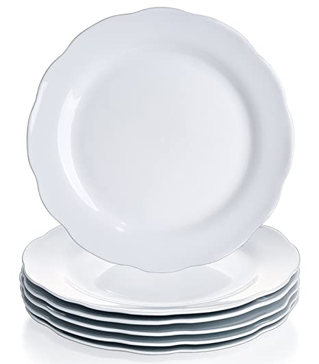 YHY 10.6-inch Porcelain Scallop Dinner Plate Set White Serving Platters Set of  sc 1 st  Amazon.com & Amazon.com | YHY 10.6-inch Porcelain Scallop Dinner Plate Set White ...