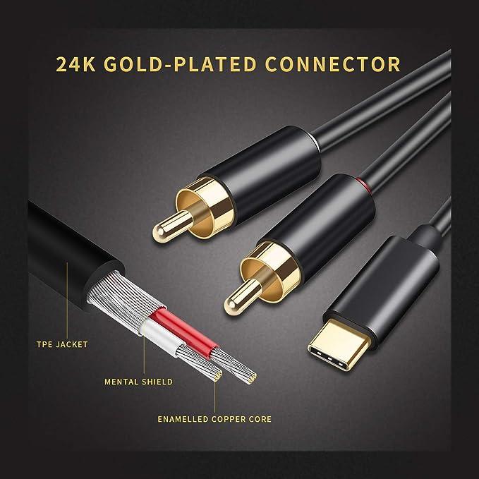 Amazon.com: Cable de audio USB tipo C a RCA dual, Mxcudu USB ...