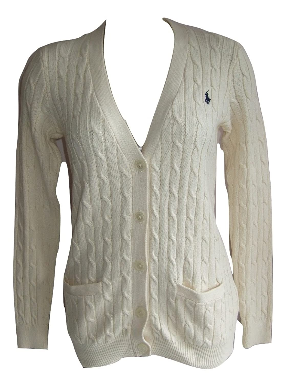 Ralph Lauren Penny Ladies Cable Knit Cardigan (Small, Cream ...