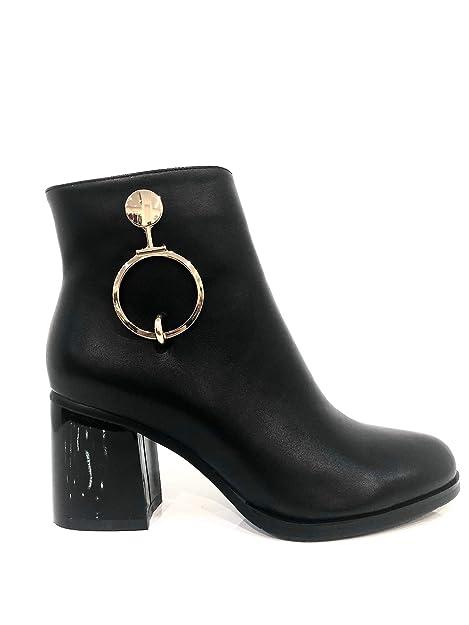 Zapatos Ankle Boot Metal Ring Anillo de Metal Botines Negros para Mujer tacón Medio con Elegantes