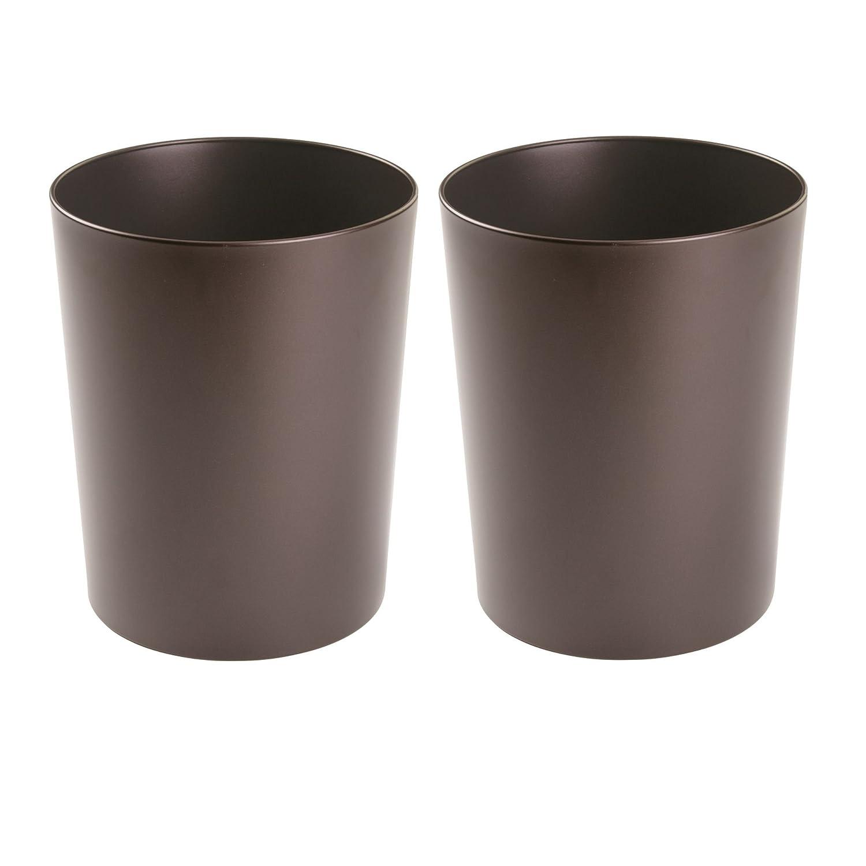 mDesign cestino spazzatura in metallo – Perfetto sia come cestino gettacarte che per la raccolta rifiuti – Per cucina, bagno, ufficio – Design moderno – Set da 2 ufficio - Design moderno - Set da 2 MetroDecor 5378MDBST