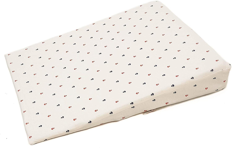 Cuña o almohada antirreflujo y anticólicos para bebé, desenfundable (con dos forros). Varios modelos y tamaños disponibles (Anclas, Cuna 60cm)