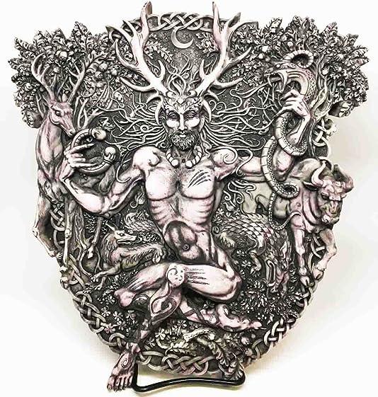 Gifts Decor Celtic Forest Lord Horned God Cernunnos Wall Plaque Sculpture
