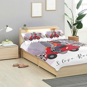 Amazon.com: CANCAKA Love Duvet Cover Set Love Rome Poster ...