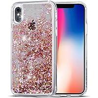 Supvin Luxury Bling Glitter Sparkle Liquid Hard Case for iPhone X (Diamond-Rose Gold)