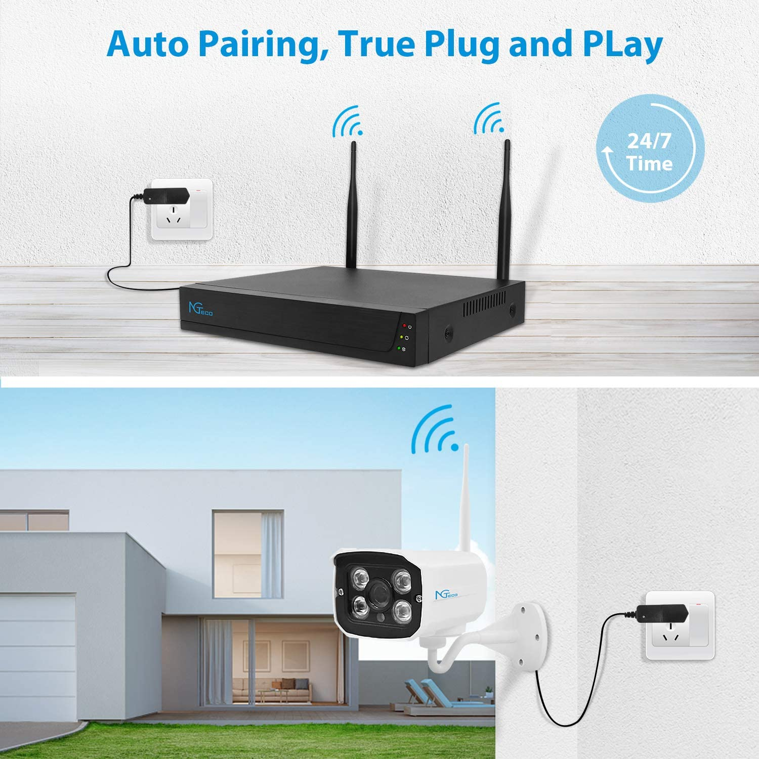 WiFi Home Surveillance NVR Kits 4PCS IP Security Cameras with IP66 Waterproof for 24//7 Recording Night Vision NGTeco Security Camera System with 1TB Hard Drive,1080P H.265 Motion Alert