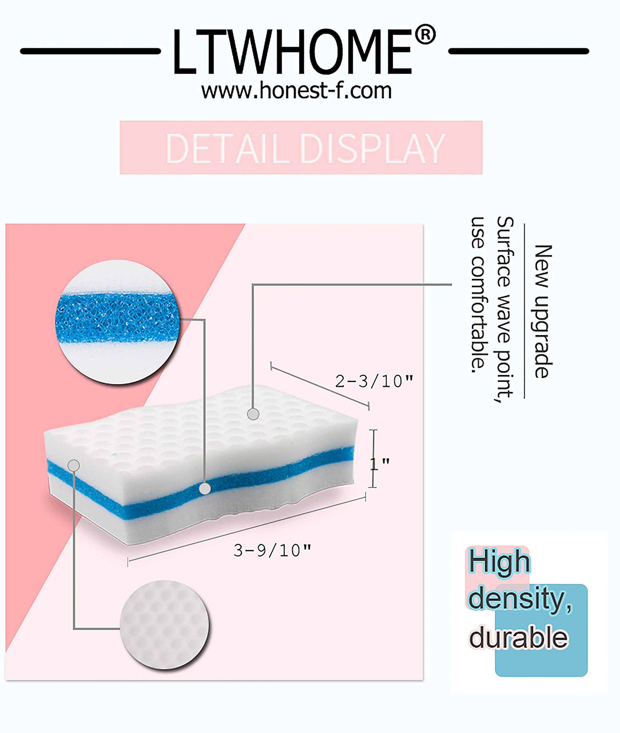 LTWHOME Generic Magic Eraser Kitchen & Dish Scrubber Dual Sided Cleaning Melamine Foam M(4'' x 2.4'' x 1'') (Pack of 100) by LTWHOME (Image #2)