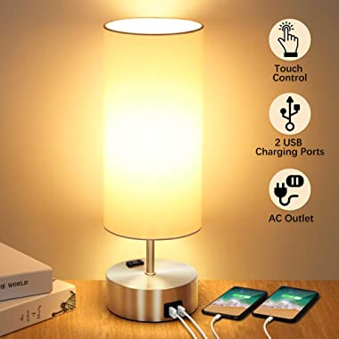 Touch Control Table Lamp with 2 Fast Charging USB Ports and Power Outlet, 3-way Dimmable Lamp Modern Bedside Lamp Nightstand Lamp for Bedroom Living Room Office Reading, 60W LED Bulb Included (Silver)