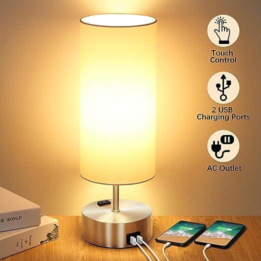 Amazon.com: Lámpara de mesa con control táctil con 2 puertos ...