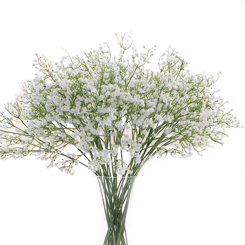 """Crt Gucy Artificial Flowers 9Pcs 21"""" Baby Breath/Gypsophila Fake Silk Plants Wedding Party Decoration Real Touch Flowers DIY Home Garden, White"""