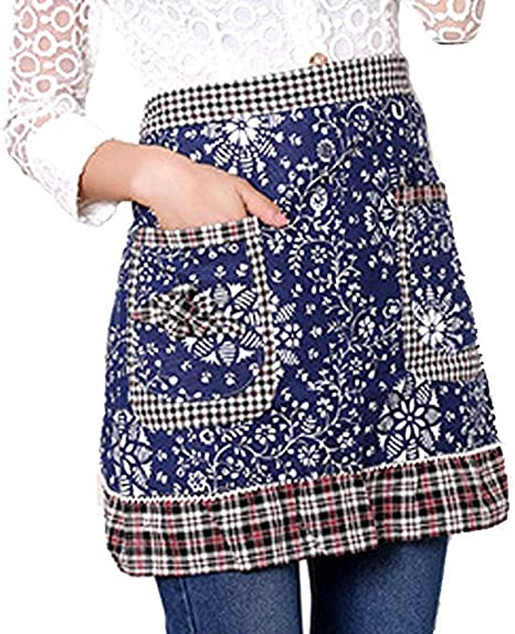 Floral Print Half Apron with Pockets Utility Waist Aprons
