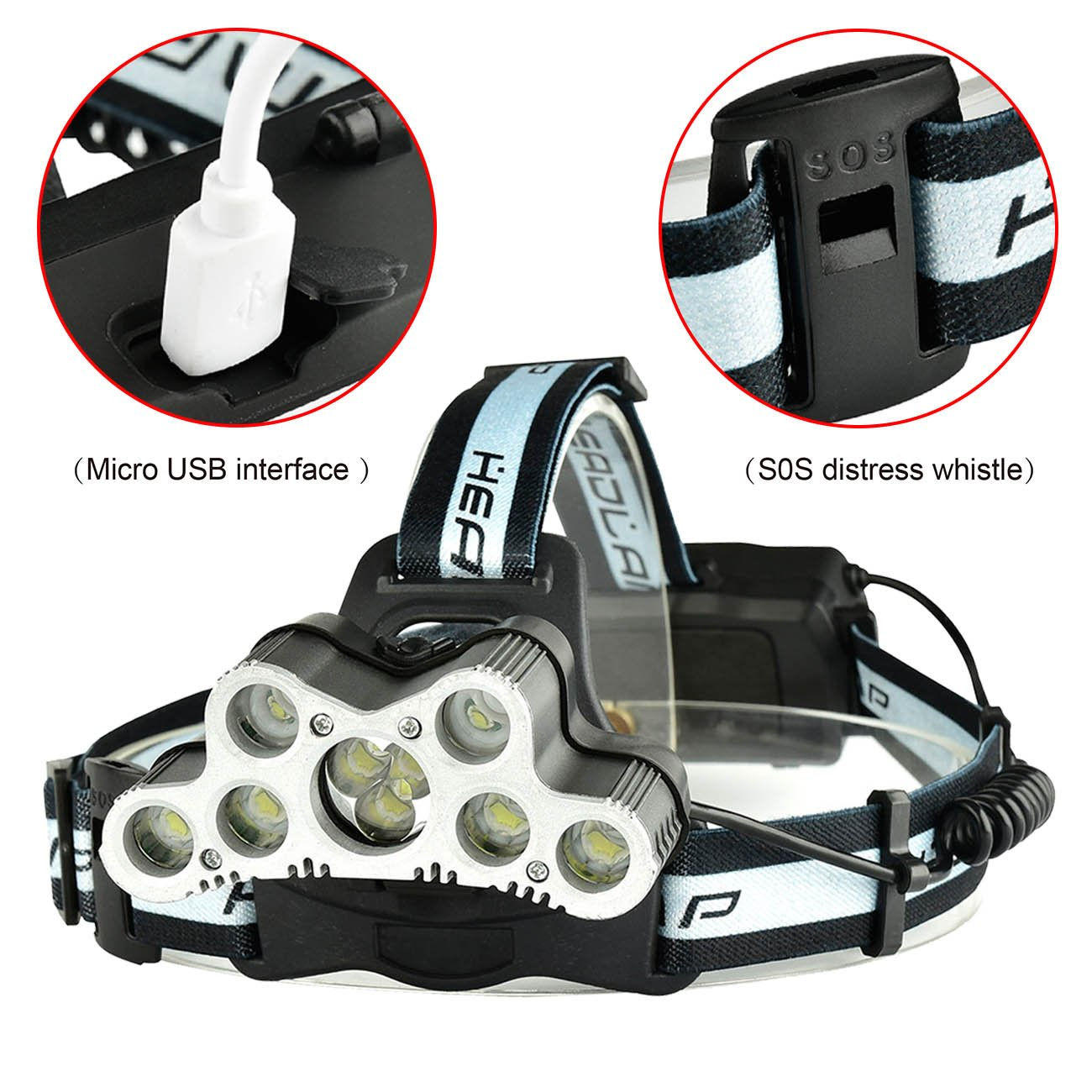 WishDeal 7X T6 and 2 x XPE LED Rechargeable Headlamp 9 LED Headlight Travel Head Torch with Batteries and USB Cable