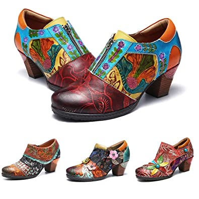 918107d1fc2d3 Camfosy Women's Ankle Boots Vintage Oxford Shoes Block Heel Leather Mary  Jane Dress Pumps Handmade Flowers Spring Summer Zipper Shoes