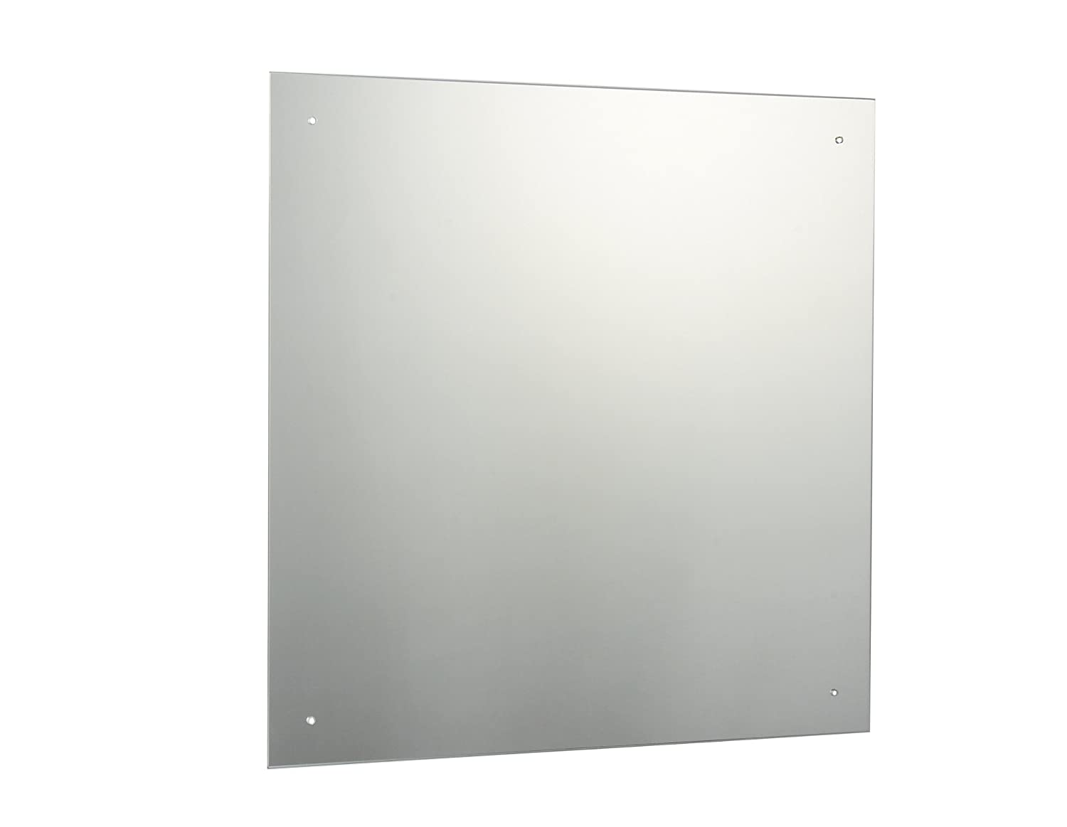 60 x 60cm Rectangle Bathroom Mirror with Drilled Holes & Chrome Cap Wall Hanging Fixing Kit