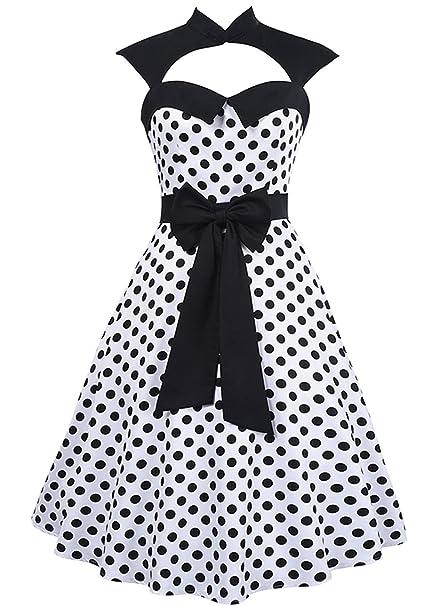 Estilo de los años 50 Audrey Hepburn Bowknot de los vestidos de las mujeres sin mangas