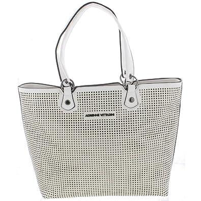 b38db047c2 Adrienne Vittadini Womens Perforated Collection Shopper Tote Handbag White  Large  Handbags  Amazon.com