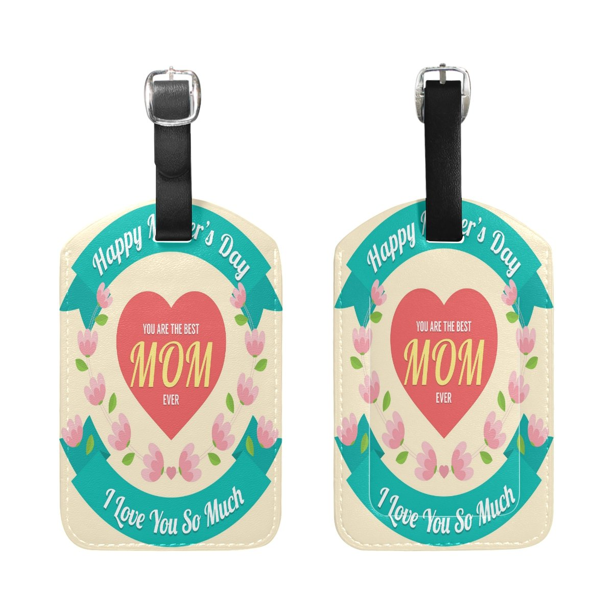 Saobao Travel Luggage Tag Mothers Day Logo PU Leather Baggage Suitcase Travel ID Bag Tag 1Pcs
