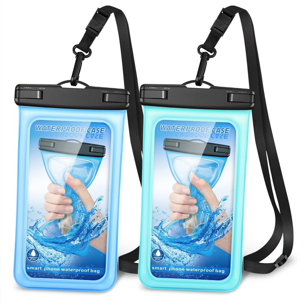 "Oneisall Floating Waterproof Case, [Upgraded] Waterproof Phone Case Cellphone Pouch Underwater Dry Bag with adjustable landyard Compatible for iPhone/Samsung galaxy/Google Pixel/HTC up to 6.0""[2 Pack]"